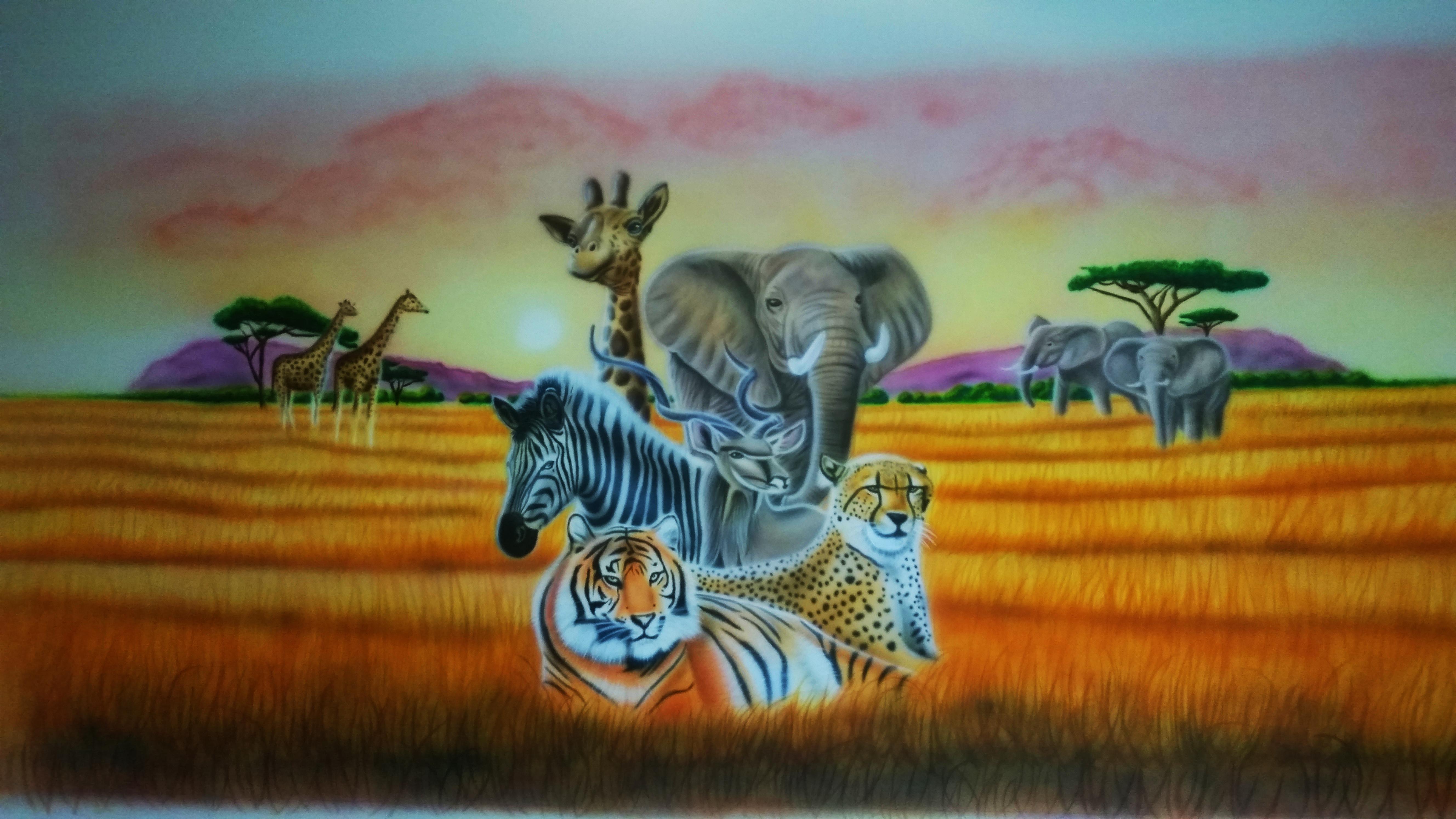 Savannah muurschildering. Olifant, tijger, zebra, cheeta, luipaard, giraffe