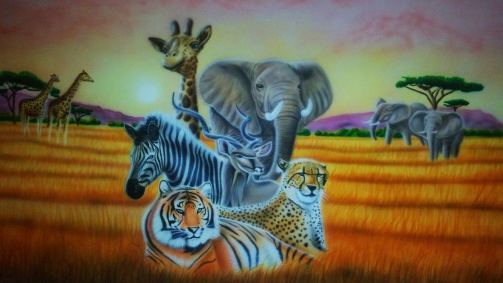 Savanne dieren muurschildering
