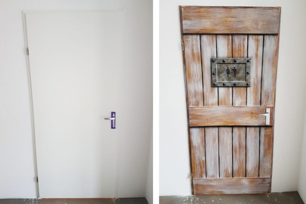 Voor en na hout imitatie deur