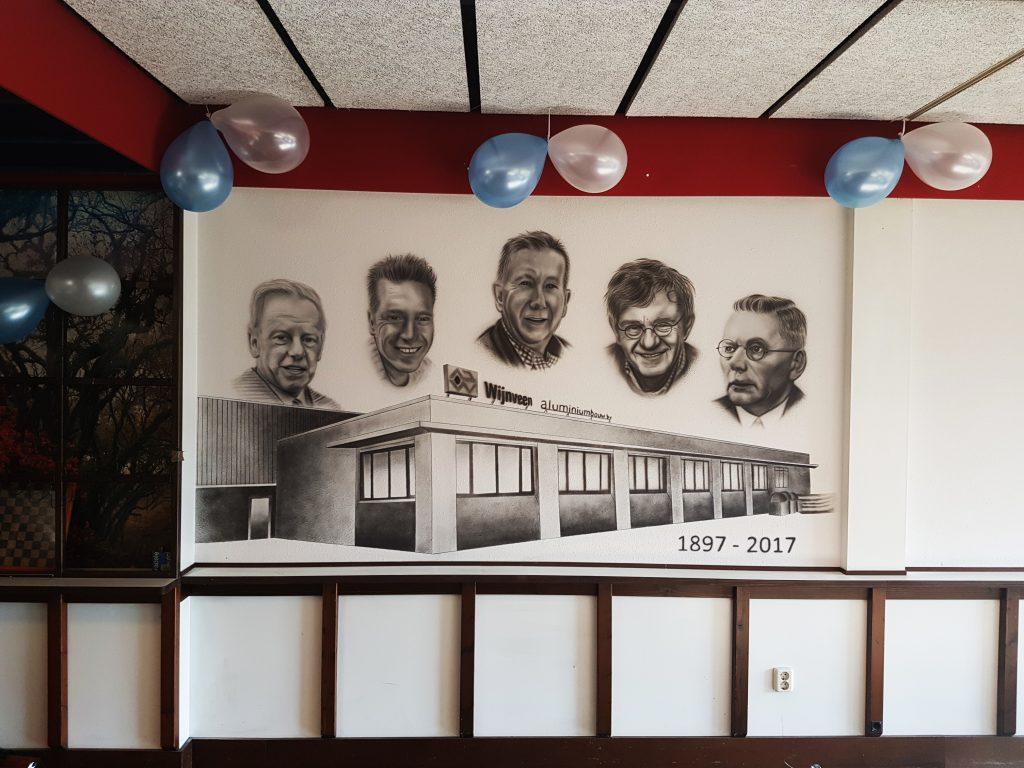 Wijnveen muurschildering met eigenaren